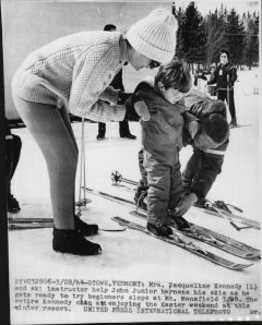 Jacqueline Kennedy and JFK Jr skis