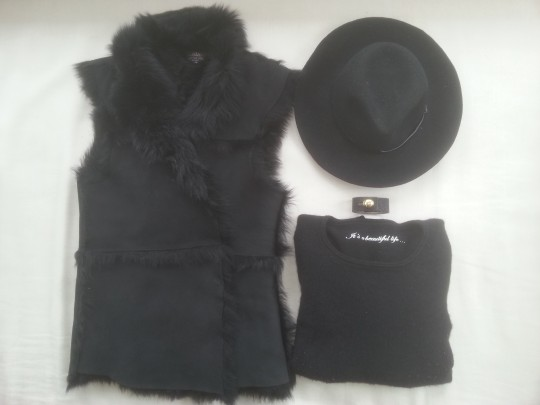 Little Joe NY Fur Gilet, Banjo Matilda Cashmere, Gail Elliot Fur Vest, Rachael Ruddick Leather Cuff, Black Fedora