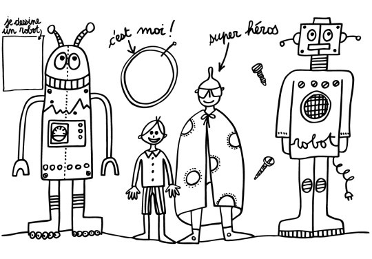 Robot placemat, Coloring in, Washable placemat, Marielle Bazard